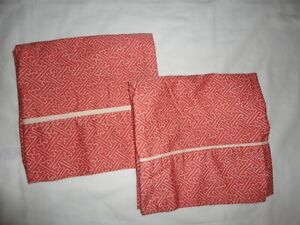 VINTAGE RALPH LAUREN VILLA CAMELIA FRETWORK RED CORAL (2) KING PILLOWCASES 20X38