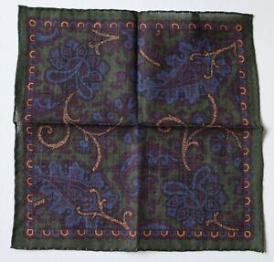 Wool & Silk pocket square Green, burgundy & mustard yellow. Hand rolled 30cm