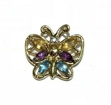 10k Yellow Gold Color Stone Butterfly Pendant
