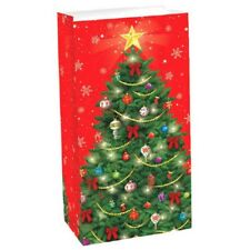12 Christmas Tree Treat Bags Paper Lunch Bag