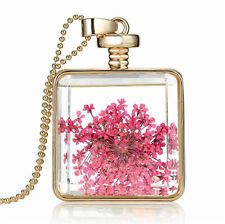Elegant Gold Pink Small Shy Flowers Square Perfume Bottle Pendant Necklace N388