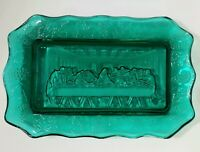 Last Supper Tiara Indiana Glass Teal Green Lord's Supper Bread Tray Vintage Mint