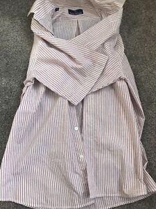 Rael Brook Size M Medium red striped button up short sleeve shirt