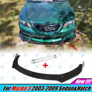 For Mazda 3 2003-2009 Sedan Hatch Front Lip Splitter Bumper + Strut Rod Body Kit