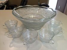 VINTAGE CRYSTAL CLEAR INDUSTRIES *TRELLIS* SANDWICH PUNCH BOWL AND 6 CUPS
