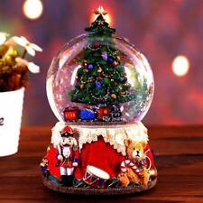 Resin Music Box Crystal Ball Snow Globe Glass Lights Gift With Speaker