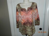 EUC Villager Liz Claiborne Womens Blouse Size XL Long Sleeve Top
