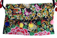 Colorful Soft Sided Purse Red Green Gold Silver Purple Flowers Birds Butterflies
