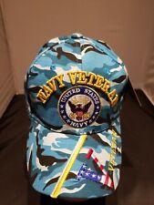New listing U.S.Navy Veteran Cap Hat Blue Camo Military Veteran On Bill Free Shipping