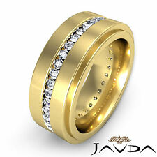 Mens Eternity Wedding Band 18k Yellow Gold Channel Set Round Diamond Ring 1.5Ct
