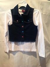 Girls Youth Sparkle 2 pc Cotton White Long Sleeve Shirt and Denim Vest Small NWT