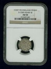 G.B./U.K./ENGLAND HENRY III  1247-1272  SILVER PENNY COIN, CERTIFIED NGC AU50