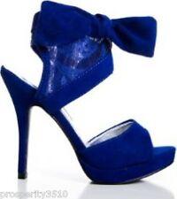 Peacock Blue Violet Blue Stilettos Bow Mesh Lace Heel Shoes Size 7