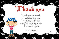 30 Pirate Thank You Cards Boys Birthday Party Items Personalized For You A1