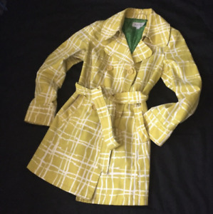 $75 NEW MERONA Yellow Plaid Belted Rain COAT Jacket Pea Trench M 8 10 Boden Styl