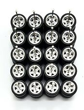 10 sets 5 star small chrome long axle fit 1:64 hot wheels rubber tires size 10mm