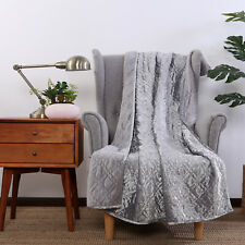"Better Homes and Gardens Silver Grey Velvet Throw Blanket 50x60"" Plush Quilted"