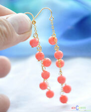 S1582 natural 6mm pink coral round dangle earring 14k