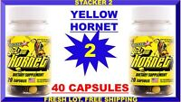 Yellow Hornet by Stacker Boost Energy 20 (Lot 2 Bottles) 40 Capsules Exp.10/22