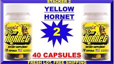 Yellow Hornet by Stacker 2 Boost Energy 20 ct (Lot 2 Bottles) = 40 Capsules USA
