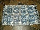 """NEW Vintage Made in Amish Country PA Rug Blue & White 21"""" x 34"""""""