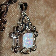 fire opal necklace pendant gemstone silver jewelry Medieval Renaissance style E4