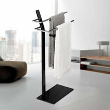 Towel Rail Drying Rack 2 Tier Free Standing Black & Silver - NEXT DAY DELIVERY
