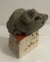 """Artesania Rinconada Mouse On A Wedge Of Cheese 🐭 2"""" Tall 🧀 Made In Uruguay"""