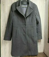 Kenneth Cole Reaction Women's Size 14 Button Front Gray Wool Trench Coat Lined