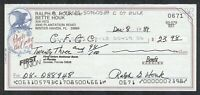 Ralph Houk 1961 New York Yankees Mgr. Signed Personal Check {d-2010} WWII Hero
