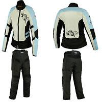 Damen Textilkombi Motorradkombi Schwarz Blau Textilhose Textiljacke. Gr 36-44