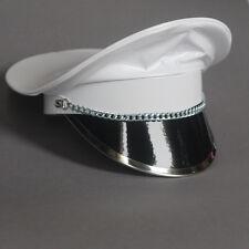 Finest PVC Dominatrix Hat Military Cap Peaked Cap Biker White S/M Adjustable