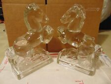 L.E. Smith Crystal Rearing Horses Bookends Smith Glass 1940's Vintage Pr. Heavy