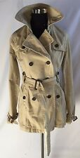 American Eagle Beige Tan Trench Coat Sz M Classic Style Button Front Belted