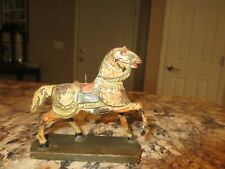 "Vintage Small 3 1/2"" Hand Carved Wood Horse Germany Wooden Base Antique Decor"