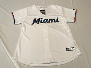 NWT's MAJESTIC Cool Base Women's Miami Marlins MLB White Jersey Size Large 🔥🔥