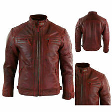 Jacket Biker Zip Leather Men Motorcycle Outwear Military Cafe Racer Red Casual