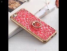 New 3D Diamond Crystal with Ring Jelly Case Cover For iPhone 7 Plus Blue