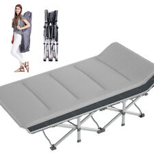 Portable Folding Camping Bed Sleeping Cot Gray w/ Corduroy Mattress & Carry Bag