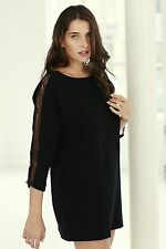 Patternless Boat Neck 3/4 Sleeve Plus Size Dresses for Women