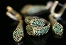 Turkish Handmade Jewelry Sterling Silver 925 Emerald Ring Earring Set 7 8 9