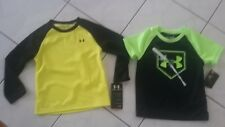 NWT lot size 3T Boys UNDER ARMOUR shirt tops thermal long sleeve + t-shirt lime