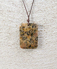 Beautiful polished Jasper gemstone Pendant necklace on a waxed brown cord