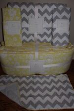 5pc NWT Pottery Barn Kids Georgia crib bumper sheet quilt skirt sham yellow gray
