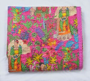 Indian Kantha Quilt Frida Kahlo Print Handmade Cotton Bedspread Blanket Throw