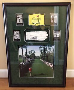 """Arnold Palmer Autographed Golf Glove In Shadowbox 36x26x3"""" W/Photo & Cards Frame"""