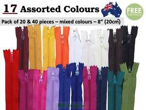 """Nylon Assorted Colour Pack of 20 & 40 Zippers, Zip 8"""", Close End, Apparel, No 3"""