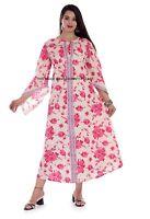 Damen Freizeit Baumwolle Leinen Kleid Locker Kaftan Lang Maxi Sonne Größen