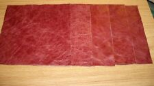 Leather 5 X pieces scrap offcuts semi aniline distressed red,hide,remnants,art