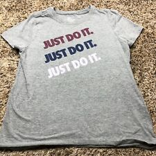 Nike Shirt Girls Size Large Gray Graphic Just Do It Front Print Athletic Cut
